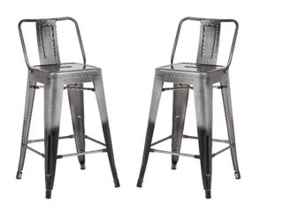 Metal Industrial 24 inch Bar Stool  Set of 2  CHARCOAl