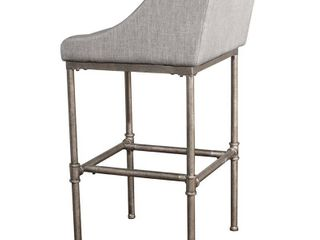 Hillsdale Dillon 30  Upholstered Bar Stool in Textured Silver and Gray