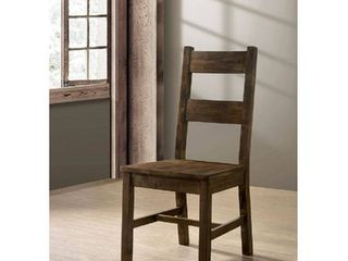 Transitional Style Solid Wood Side Chair with Block legs  Pack of Two  Rustic Oak