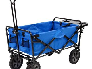 Mac Sports Collapsible Folding Outdoor Garden Utility Wagon Cart w  Table  Blue