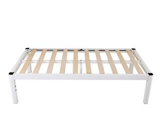 intelliBASE Deluxe low Metal White Platform Bed Frame w Wooden Slats  Full 18