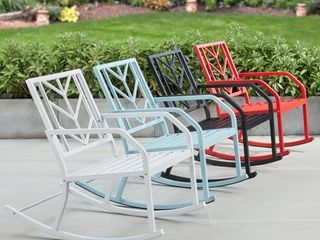Mainstays Evry Bell Outdoor Metal Rocking Chair  White