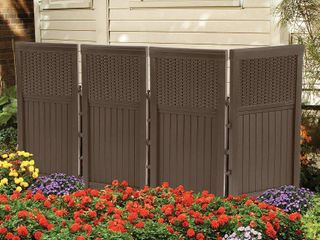 Suncast 4 Panel Outdoor Steel   Resin Freestanding Screen Enclosure  Brown