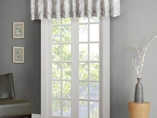 50 x18  Aden Faux Silk Embroidered Blackout Window Valance White