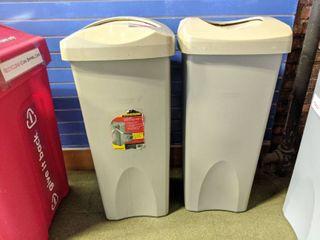 2  Rubbermaid 23 Gallon Trash Cans
