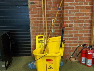 Rubber Maid Mop Bucket  Mop And Wet Floor Sign
