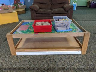 Wooden Play Table And Train Tracks
