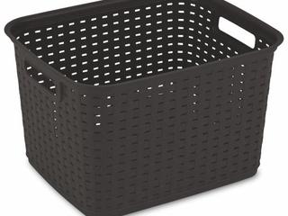 Sterilite Tall Weave Storage Basket 15 X12 25 X9 375  Espresso