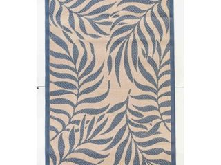 Tropical Indoor Outdoor Rugs Flatweave Contemporary Patio  Pool  Camp and Picnic Carpets FW 513 Beige Blue 9  x 12