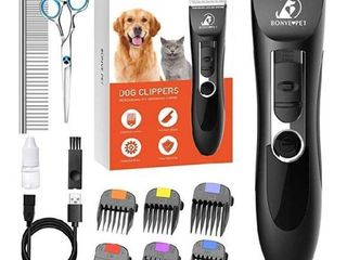 Dog Clippers  Dog Grooming Kit Noiseless Cordless Dog Grooming Clippers Professional Rechargeable Dog Trimmer Electric Hair Clippers for Thick Coats Dogs Cats Pets