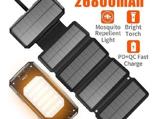 Solar Charger 26800mah Power Bank 5 Solar Panels 60 lEDs PD Fast Charge External Battery Pack with 3 USB Output Compatible with Cellphone Tablet and More for Camping Hiking and Hurricane Emergency