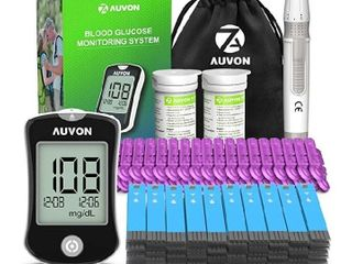 AUVON DS W Blood Sugar Test Kit  100 Test Strips  100 30G lancets  High Tech Diabetes Blood Glucose Meter  No Coding Required  with lancing Device