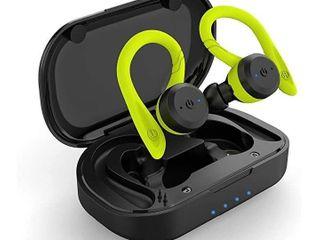 Wireless Headphones  APEKX True Wireless Bluetooth 5 0 Sports Earbuds  IPX7 Waterproof Stereo HiFi Sound  Built in Mic Earphones with Charging Case  Green