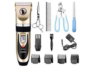 Dog Clipper Dog Grooming kit Rechargeable  Cordless Pet Grooming Clippers Pet Dog cat Grooming Scissors low Noise Hair Clippers Suitable for Dogs  Cats and Other Pets Animal