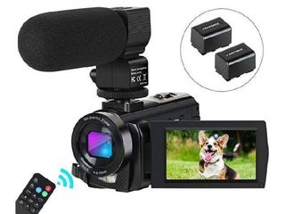 Camcorder Video Camera Digital YouTube Vlogging Camera HD 1080P 30FPS 24MP 16X Digital Zoom 3 Inch lCD Flip Screen Video Recorder with Microphone and Remote Control  2 Batteries