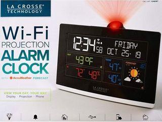 la Crosse Technology C82929 INT WiFi Projection Weather Alarm Clock Black
