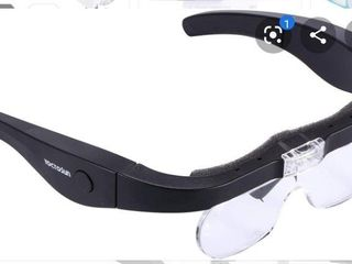 YOCTOSUN Rechargeable Head Magnifier Glasses  Eyeglasses Magnifier with 2 lED lights and Detachable lenses 1 5X  2 5X  3 5X 5X  Best Magnifying Glasses for Reading and Hobby
