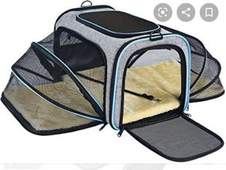 OMORC Pet Carrier Airline Approved  Expandable Foldable Soft Sided Dog Carrier  3 Open Doors  2 Reflective Tapes  Pet Travel Bag Safe and Easy for Cats and Dogs  Grey