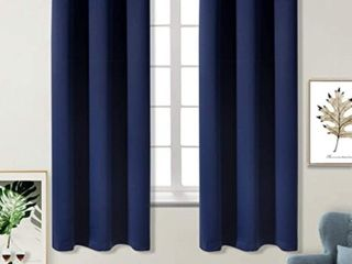 BGment Blackout Curtains for living Room   Grommet Thermal Insulated Room Darkening Curtains for Bedroom  Set of 2 Panels  52 x 84 Inch  Navy Blue