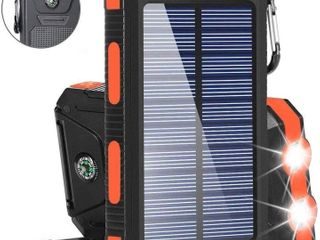 Solar Charger Solar Power Bank 20000mAh Waterproof Portable External Backup Outdoor Cell Phone Battery Charger with Dual lED Flashlights Solar Panel for iPhone Android Cellphones  Black   Orange