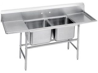 Advance Tabco 9 82 40 18Rl Two Compartment 81  Wide Regaline Sink With 18  Right And left Side Drainboards  Super Saver 900 Series