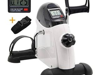 Hausse Portable Exercise Pedal Bike for legs and Arms  Mini Exercise Peddler with lCD Display  White