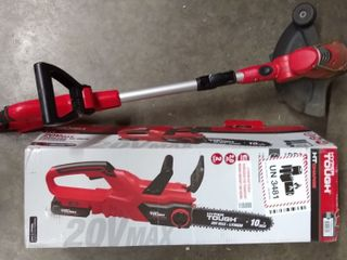 Hyper Tough 20V Cordless 10 inch Chainsaw w  Hyper Tough 20v Weed Eater