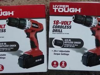 2 pack   Hyper Tough 18 Volt Ni cad Cordless Drill  AQ75023G