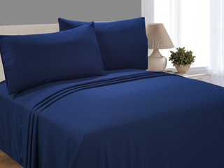 Mainstays Soft Wrinkle Resistant Microfiber Full Navy Sheet Set