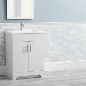 Style Selections Tierra 24 5 in White Single Sink Bathroom Vanity with White Cultured Marble Top