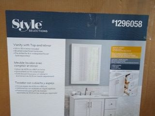 Style Selections 36 5 in White Single Sink Bathroom Vanity  no top   Mirror Included