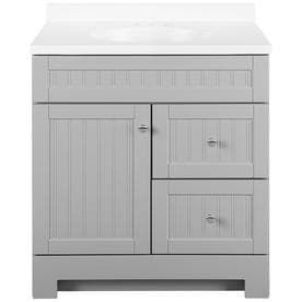 Style Selections Ellenbee Gray Single Sink Vanity with White Cultured Marble Top  Common  30 in x 19 in