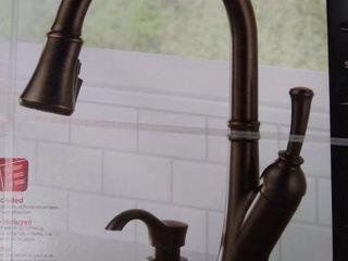Delta Savile Pull down Kitchen Faucet Venetian Bronze Model 19949z rbsd dst Open