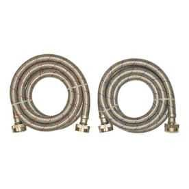 EASTMAN 2 Pack 6 ft 1500 PSI Stainless Steel Washing Machine Connectors