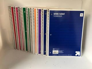 lOT OF WIDE RUlED NOTEBOOKS