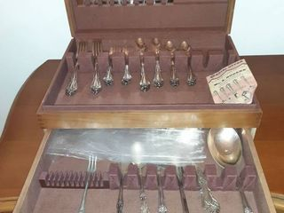 Silver Overlaid Utensils in Wooden Case with Missing Pieces