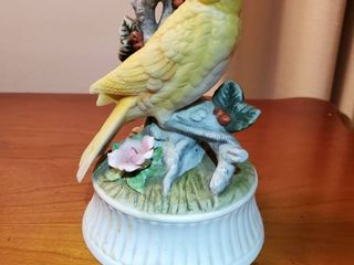 SHAFFORD yellow Bird Porcelain Musical  Tested and Working
