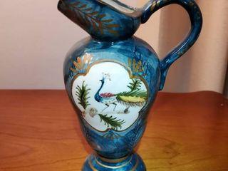 Oriental Blue Pitcher Peacock Art Design