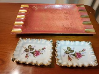 lot of 3 Gilded Trays  2 Small Floral and 1 Red