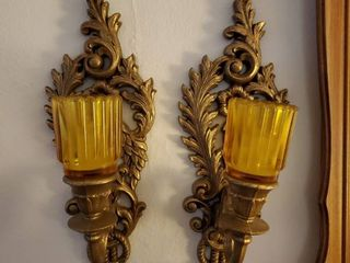 lot of 2 Hanging Wall Candle Holders Plastic