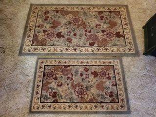 lot of 2 Carpets  Rolled Together  Green Burgandy Floral