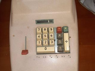 Vintage Adding Machine with Vinyl Cover AC Adapter Not Included