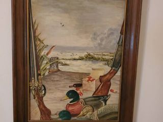 Wall Decor Painting of Ducks and 2 Shotguns