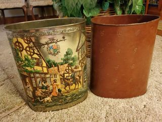lot of 2 Trashcans Metal   1 leather and 1 Etched and Painted