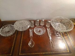 lot Of 8 Crystal Items With 2 Unique Utensils A Crystal Fork And Spoon  Spoon Has A Small Chip