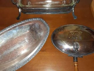 lot of Three Silver Plated on Copper Serving Pieces