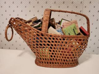 Wicker Coal Bucket Filled with Vintage Matches