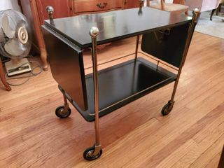 Mid Century Modern Black - Brass Bar Cart
