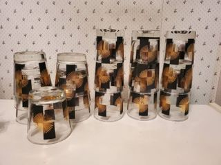 Black   Gold MCM 6 Tumblers and 7 Scotch Glasses