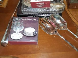lot of Six Silver Plated Items  Serving Spoon  Serving Fork  Coaster Set   Soup ladle  Salt and Pepper Shaker
